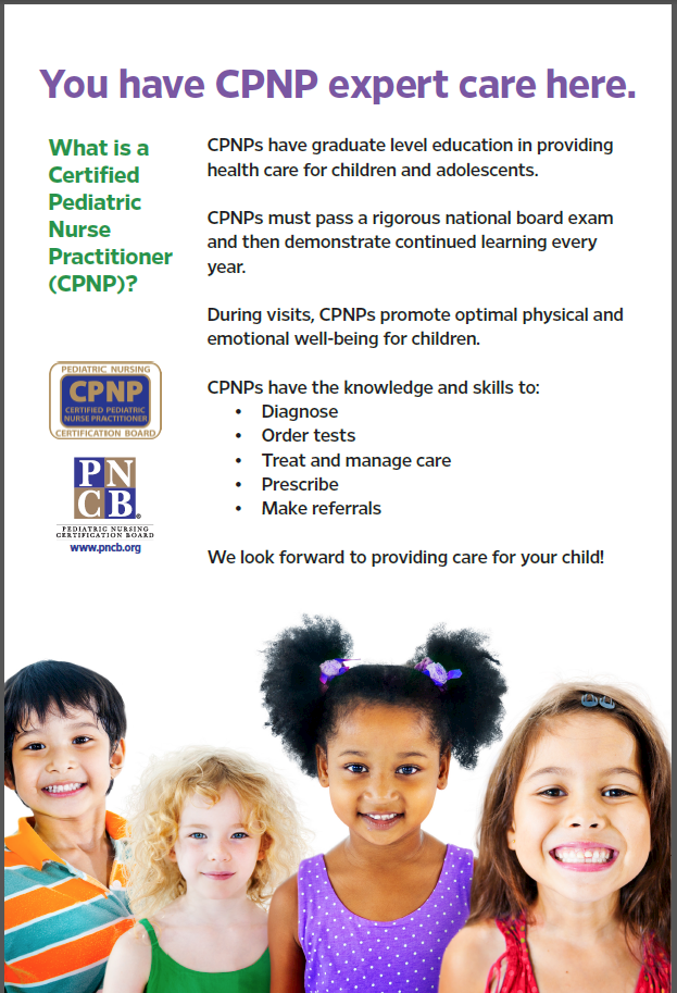 Poster describing healthcare provided by Certified Pediatric Nurse Practitioners