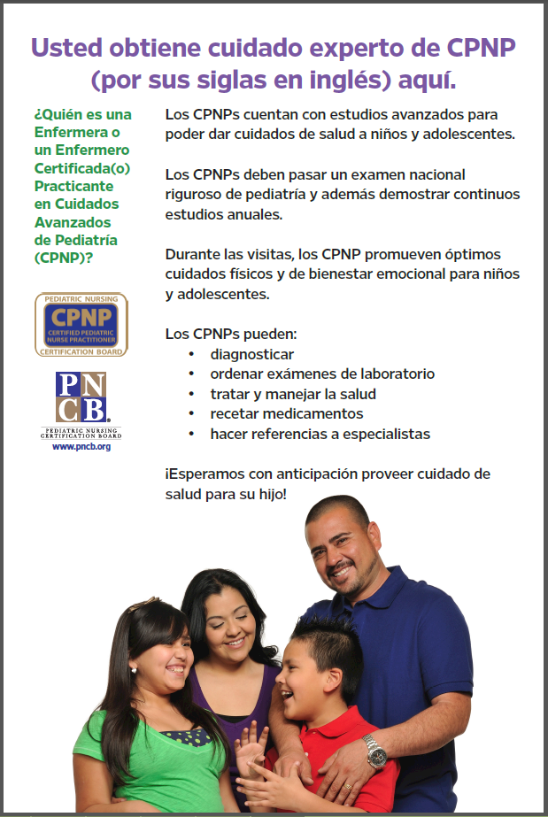 Spanish language poster describing healthcare provided by Certified Pediatric Nurse Practitioners